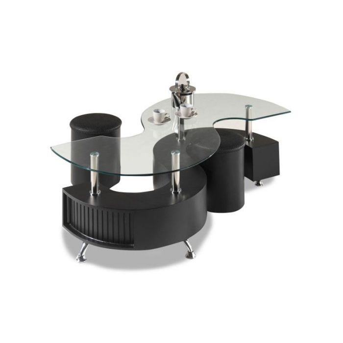 table basse en verre forme s avec 2 poufs rubio noir