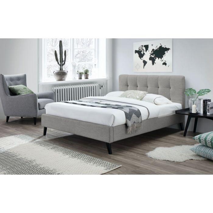 lit double 180 x 200 cm avec tete de lit et sommier tulipe beige