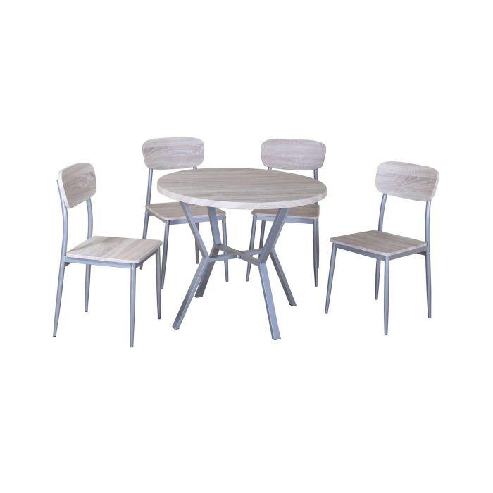 table ronde et 4 chaises sonoma et acier floss
