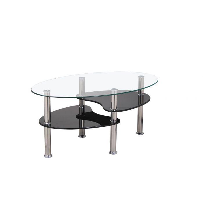 table basse ovale limbo noir brillant et verre trempe