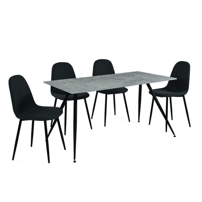 ensemble table et chaises style scandinave beton et gris spek
