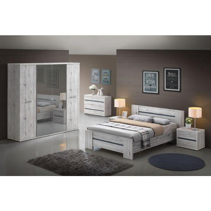 chambre a coucher adulte complete chene grise dreams lit double de 160 cm