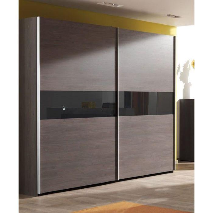 armoire penderie 2 portes coulissantes avec poignees en metal lasta 250 cm
