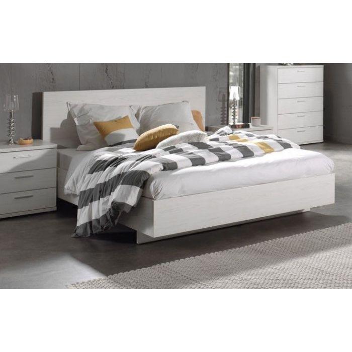 lit double avec tete de lit chene blanc helgy lit 160 cm