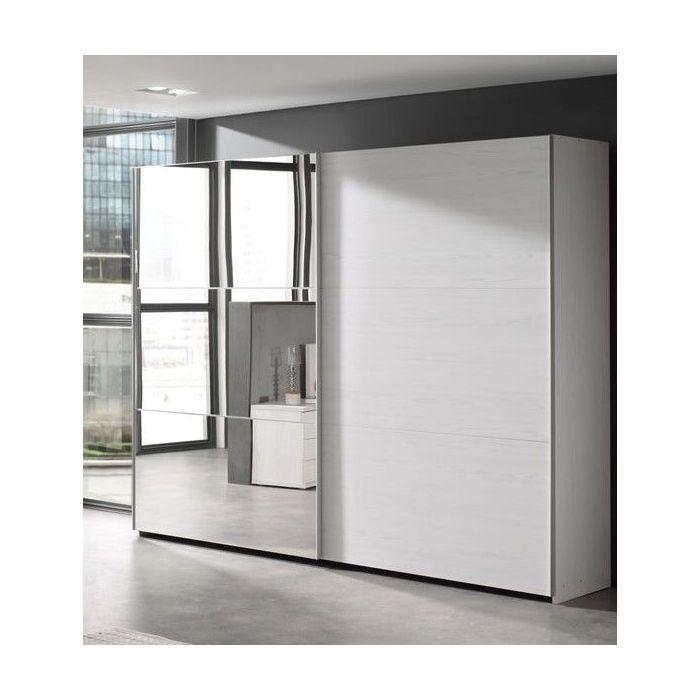 armoire penderie et lingere a portes coulissantes dont 1 miroir chene blanc helgy