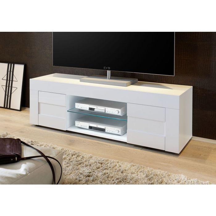 meuble tv bas 138 cm 2 portes blanc laque brillant turin
