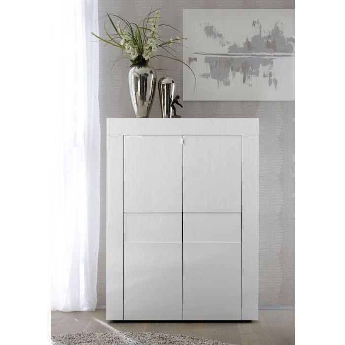 meuble de rangement 2 portes blanc laque brillant turin