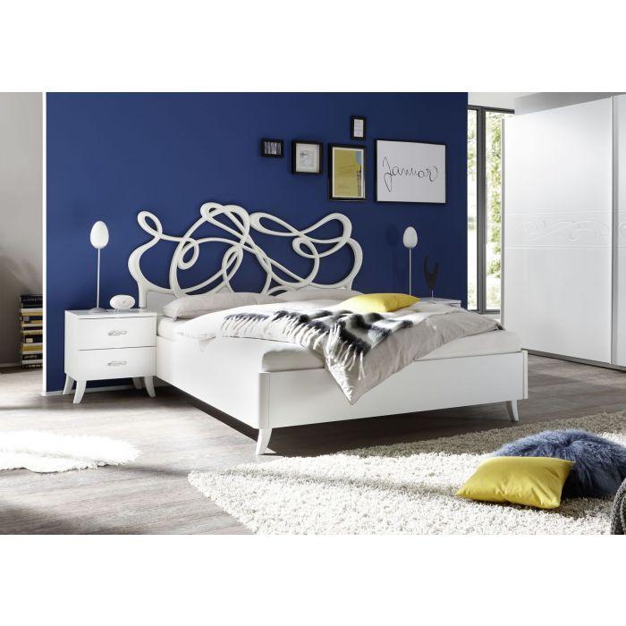 lit double 160 cm en pu style contemporain tete de lit design blanc martine