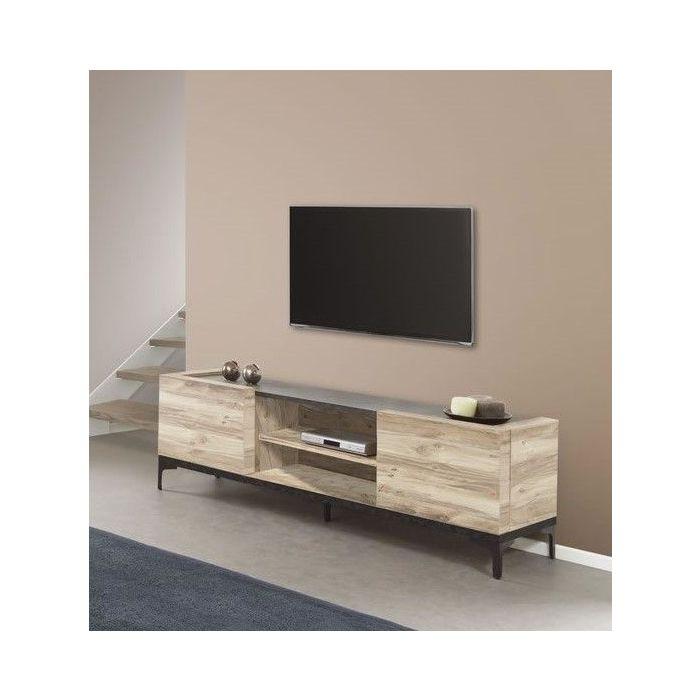 meuble tv 2 portes design industriel bois et metal barosse