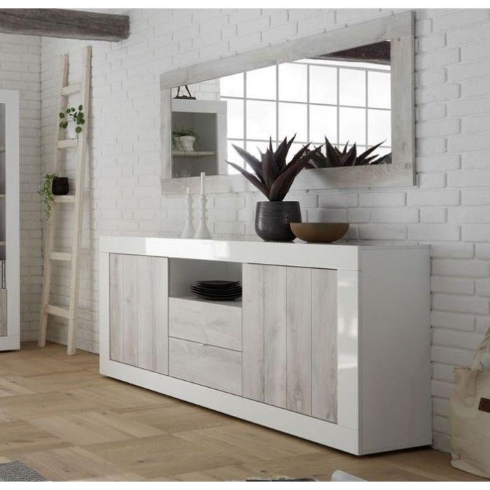 buffet contemporain 2 portes 2 tiroirs blanc laque et pin blanc charlie