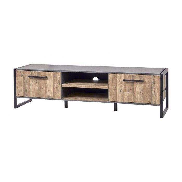 meuble tv industriel 192 cm aspect parquet et metal samira