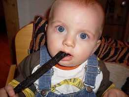 """Baby-Biltong (Kaustange beim Zahnen) """"mit Honig / Nelke Gewürz""""  100 g Packung!"""