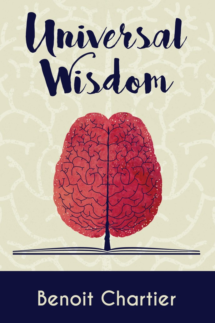 A brain growing out of a book: Universal Wisdom Self-Help book