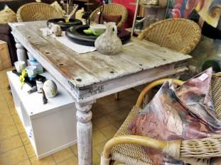 Essgruppe Shabby Vintage Tisch mit Korbstühlen