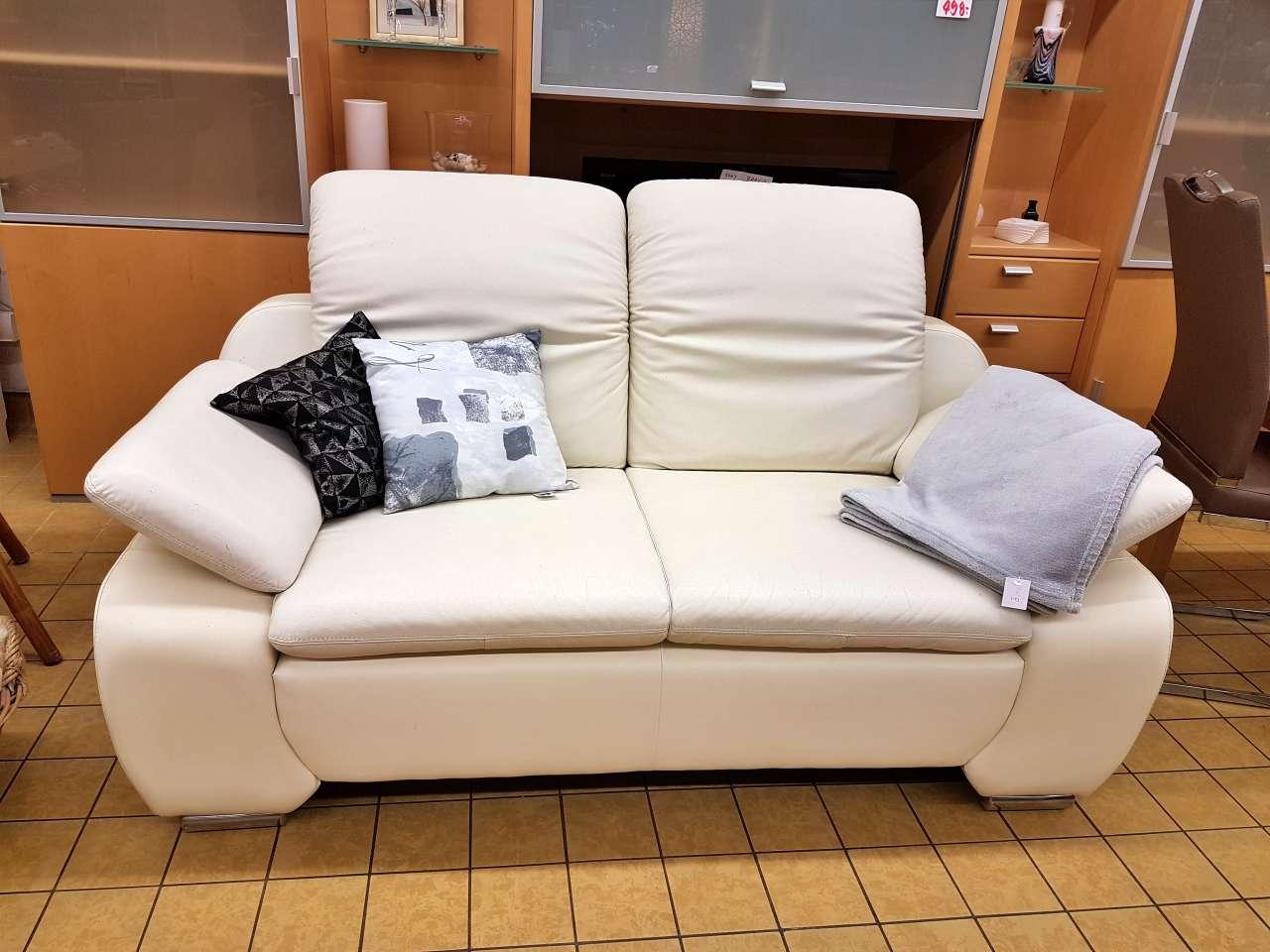 Couch Sofa 2er Leder weiß