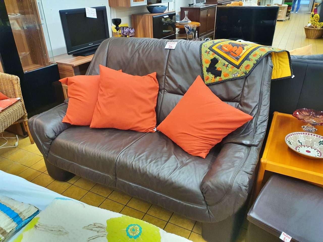 Couch Sofa 2er Leder braun