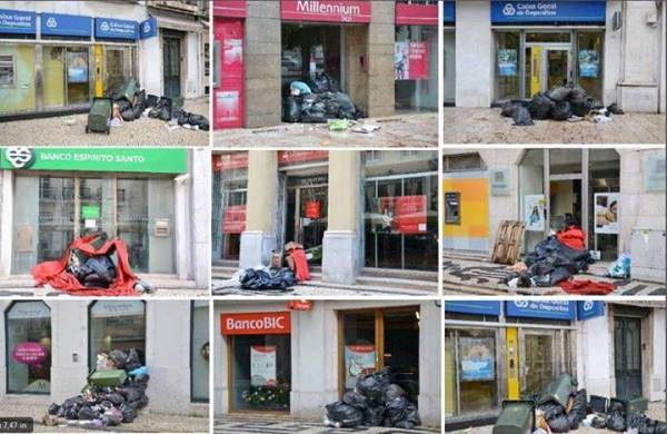 Garbage in front of banks in Lisbon