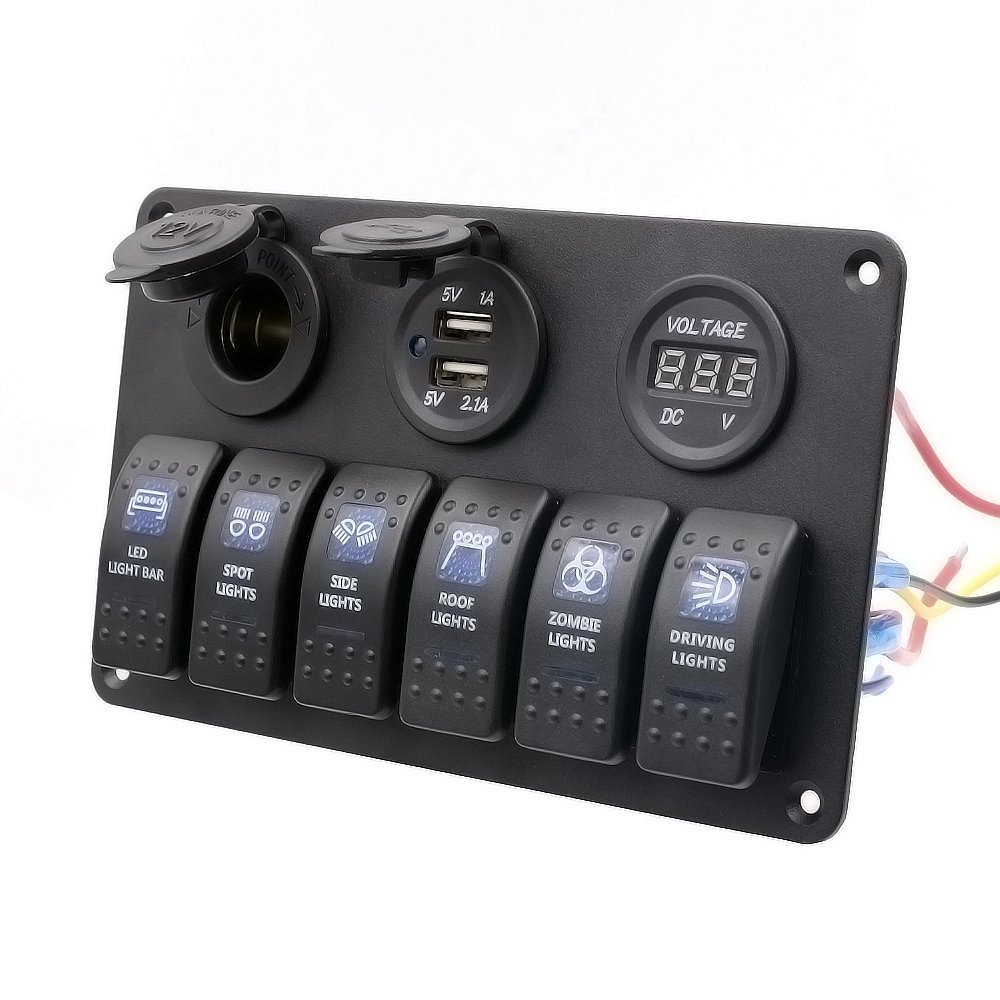 TurnRaise Waterproof 6 Gang DC 12V24V Marine Boat Caravan LED Rocker Switch Panel Breakers with Cigarette Socket USB Power Charger Digital Voltmeter best marine toggle and rocker switch panel 2017 reviews Marine Fuse Terminal Block at panicattacktreatment.co