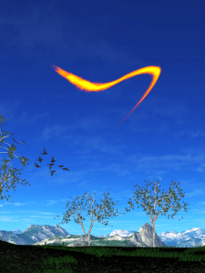 A flame elemental flying through the air over a green landscape with birds flying in the background.