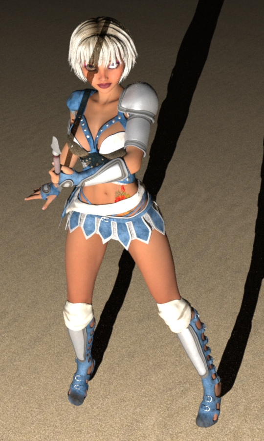 Alani with spear rendered with Luxus