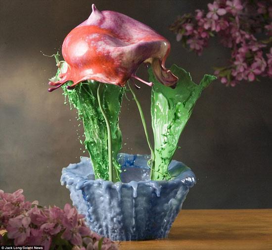 Hoa được tạo từ những giọt sơn