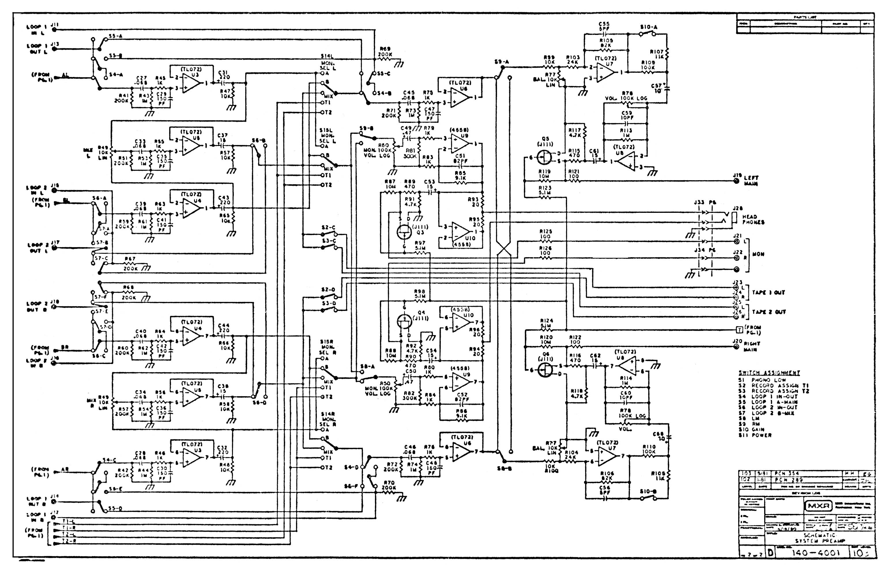 Mxr Preamp Wiring Diagram