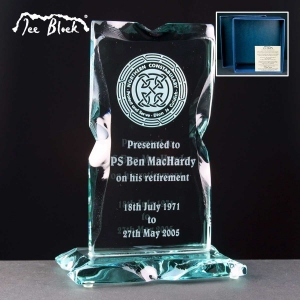 Monument Ice Block Glass Awards Supplied In A Branded Box. Price Includes Engraving.