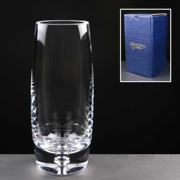 Balmoral Glass Bubble Based Engraved Glass Vases In Blue Cardboard Gift Box. Price Includes Engraving.