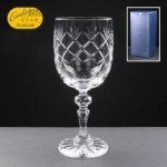 Earle Crystal Wine Glass  With Panel For Engraving In Blue Cardboard Gift Box 1