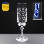 Earle Crystal Champagne Flute With Panel For Engraving In Presentation Box