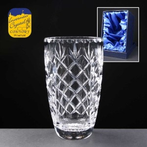 Earle Crystal Engraved Crystal Vases With Panel For Engraving Supplied In A Satin Lined Presentation Box. Price Includes Engraving.