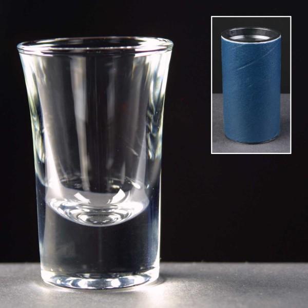 1oz Shot Glass In Blue Cardboard Tube