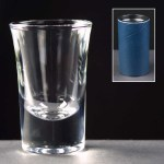 1oz Shot Glass In Blue Cardboard Tube