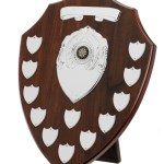 Mahogany Coloured Wooden Annual Shields With Silver Trims