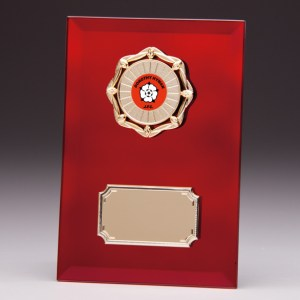Red Coloured Glass Plaques With Trim