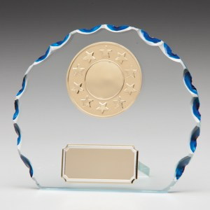Circle Glass Plaques With Trim With Blue Tinted Clipped Edges