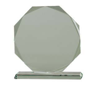 Octagon Shaped Jade Glass Awards Supplied In Presentation Box. Price Includes Engraving.