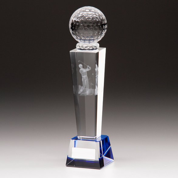 Golf Trophies With Blue Tinted Glass