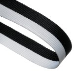 Black / White Woven Medal Ribbons With Clip