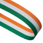 Green / White / Orange Woven Medal Ribbons With Clip
