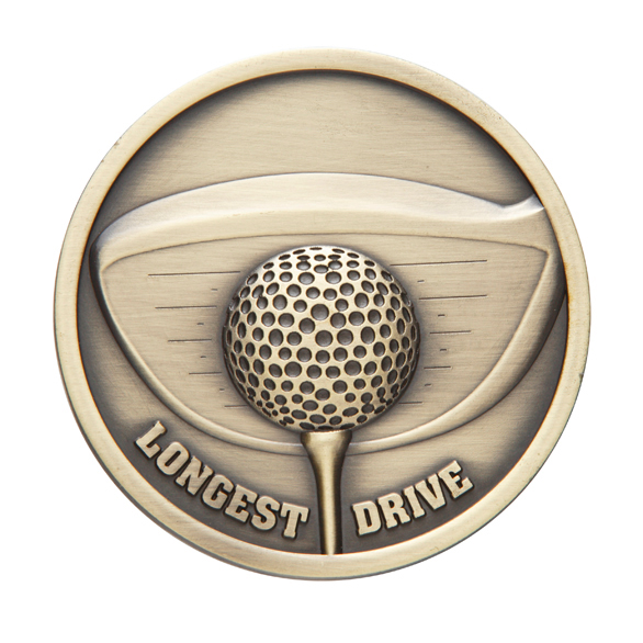 70mm Longest Drive Golf Medals