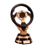 Resin Motor Sport Trophies In Black And Antique Gold Coloured Finish