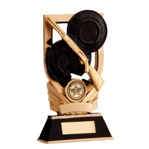 Resin Clay Shooting Trophies In Gold Coloured Finish
