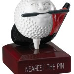 """Nearest The Pin"" Comic Golf Ball Trophies On Wooden Base 1"