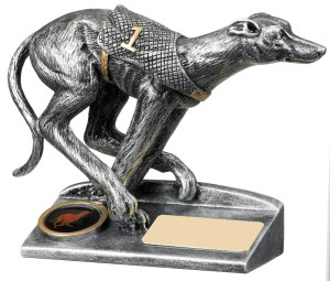 Resin Greyhound Racing Trophies In Antique Silver Finish