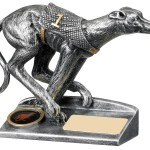 Resin Greyhound Racing Trophies In Antique Silver Finish 1