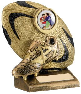 *SALE* Resin Rugby Trophies In Antique Gold Finish