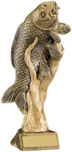Resin Fishing Trophies in Antique Gold Coloured Finish