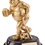 Resin Comic Football Trophies In Bright Gold Coloured Finish 1