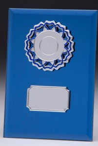 Blue Coloured Glass Plaques With Trim